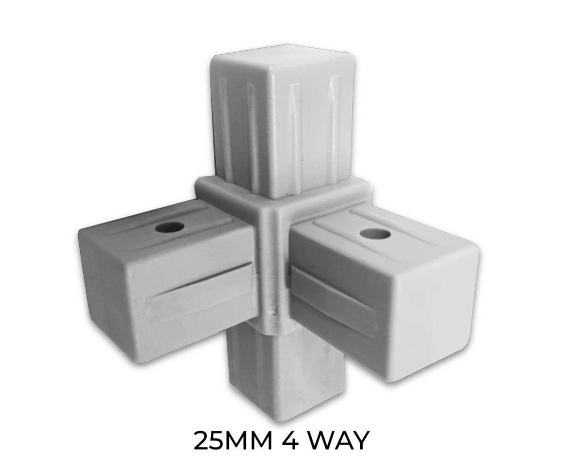 Modular shelving 4 way component