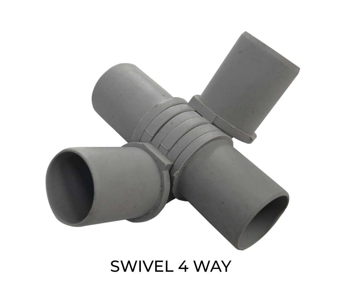 Modular shelving swivel 4 way component